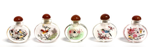 Eglomise Reverse Painted Snuff Bottles Set of 5 Birds