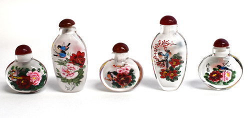 Eglomise Reversed Painted Snuff Bottle Set of 5 Flowers and Birds