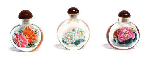 Eglomise Reverse Painted Snuff Bottles Set of 3 Peonies