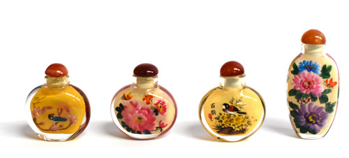 Eglomise Reverse Painted Snuff Bottles Set of 4 Peonies and Birds