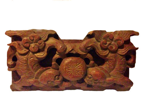 wood block 1, antique, carved foo dogs