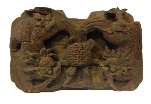 wood block 3, antique, carved foo dogs
