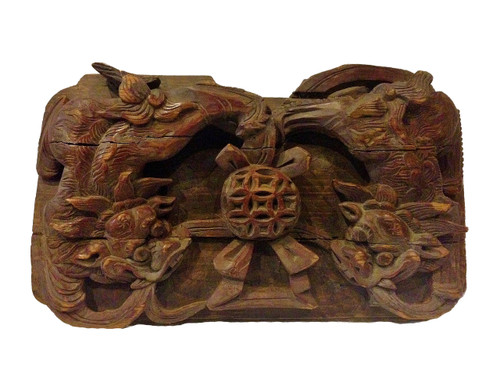 wood block 4, antique, carved foo dogs