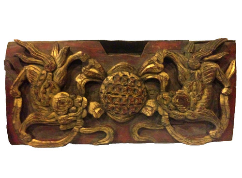 wood block 5, antique, carved foo dogs