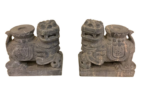 Pair Stone Foo Dog Candle Holders