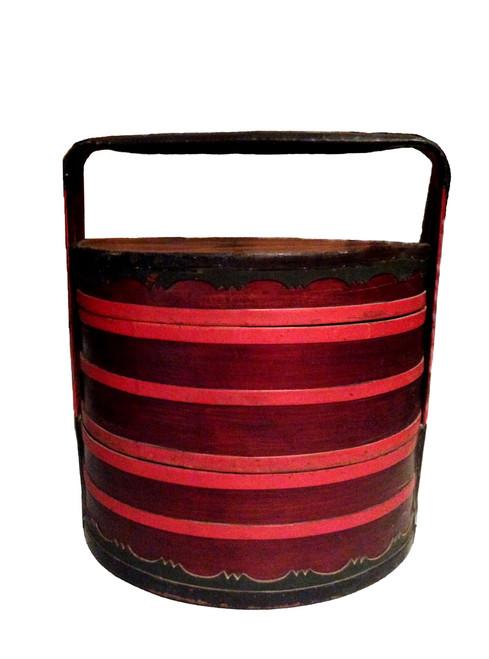 basket, antique, 2 tier