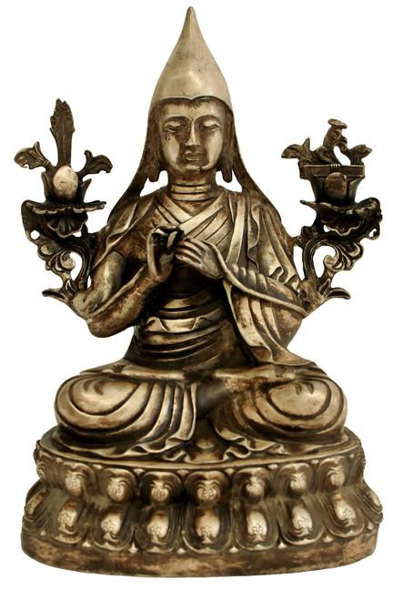 Silvered Bronze Tibetan Teacher Tshongkhapa