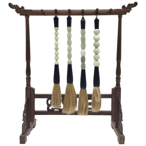 Set of 5 Jade Brush and Stand