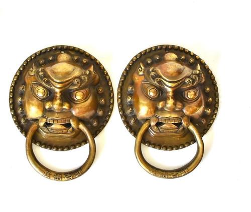 pair brass knockers, large, guardians