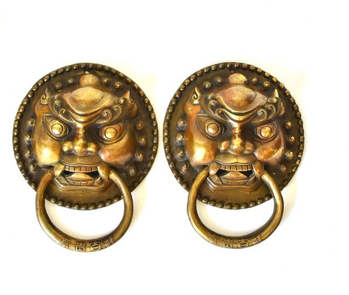 Pair Bronze Knockers Guardians