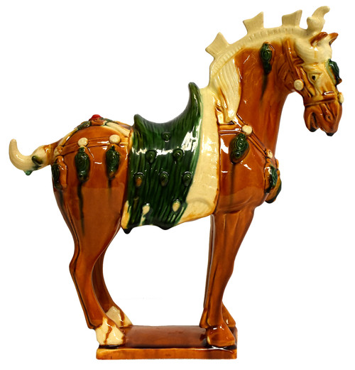 Chinese Pottery San Cai Horse with Green Saddle