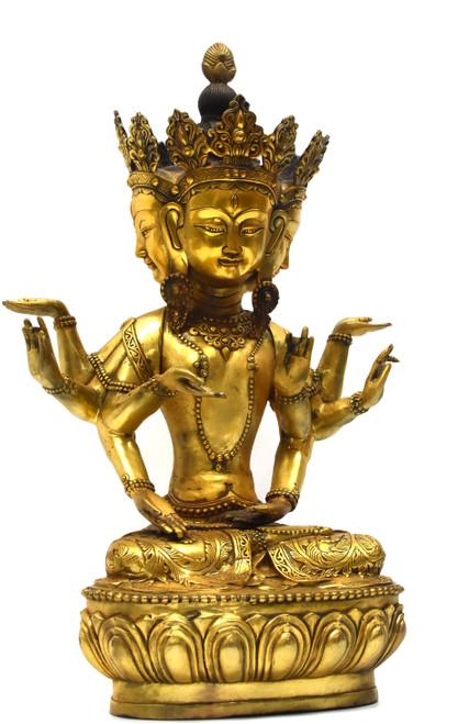 Gilded Bronze Multi-Armed Tibetan Vasundhara