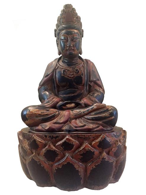 "statue, buddha, huge 40"" high, on lotus seat"