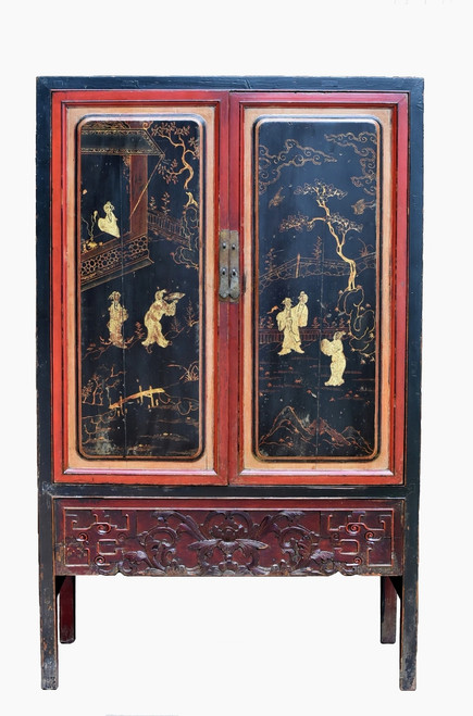 Antique Gilded Black Red Cabinet