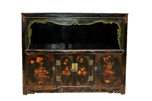Open Light Antique Chest with Painted Pomegranate