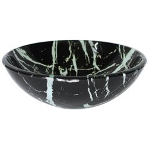 Sink Black and White Glass Marble Pattern