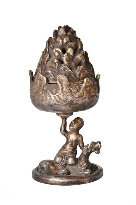 Silvered Bronze Bo Shan Incense Burner