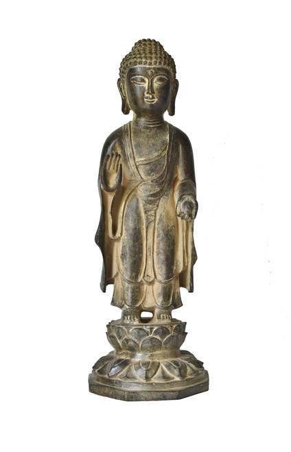 bronze standing buddha on lotus