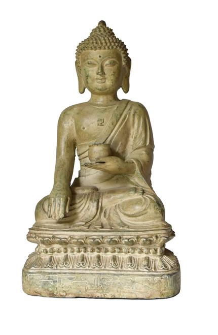 large pale green sitting buddha