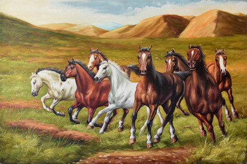 horses, oil on canvas, signed
