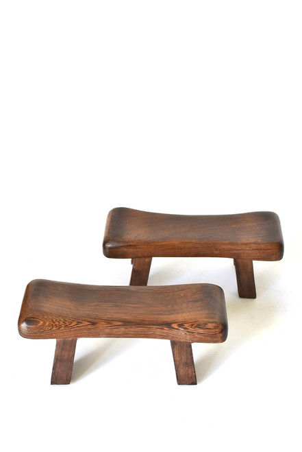 pair rosewood mini stools, headrest