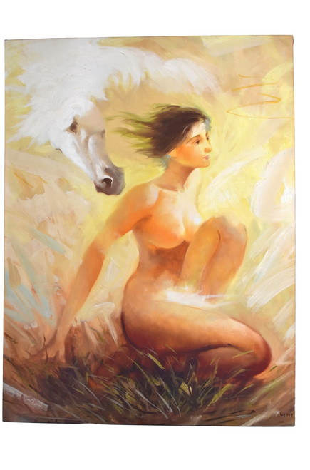oil painting, nude and horse, signed
