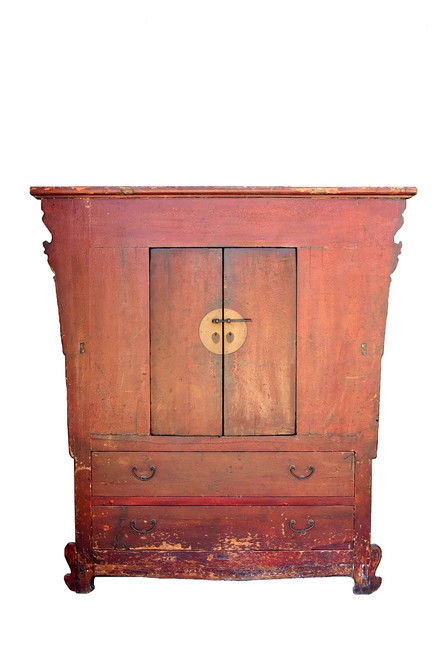 antique red crackle cabinet, northern chinese