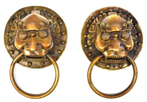 pair brass knockers, warrior, 2 sizes