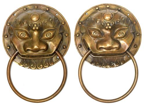 pair brass knockers, prehistoric beast, 2 sizes
