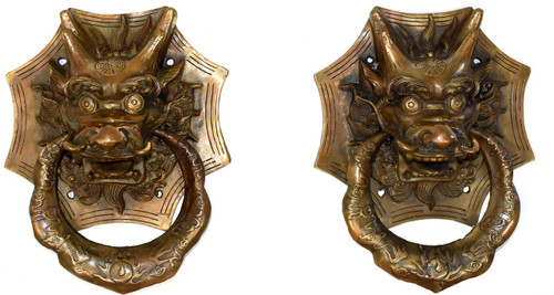 pair brass knockers, dragons, 3 sizes