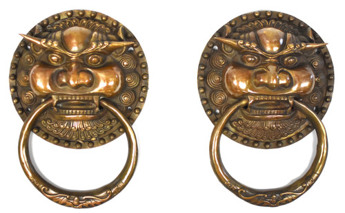 pair brass knockers, dragon king