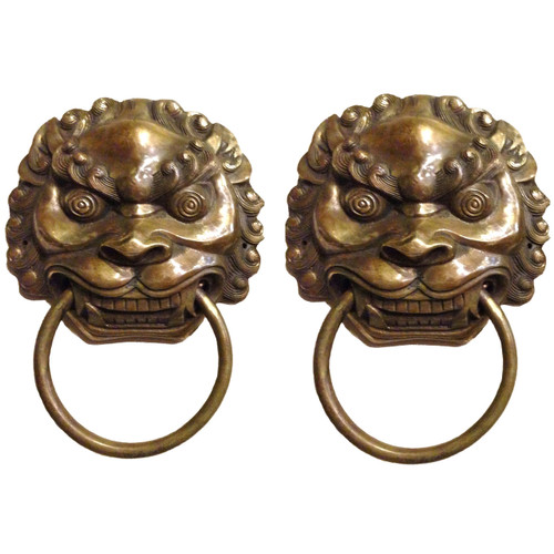 Pair Bronze Knockers Lions