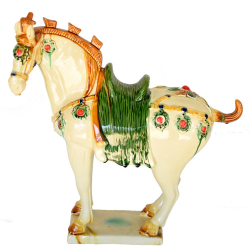 large white pottery horse, san cai, ruby studs