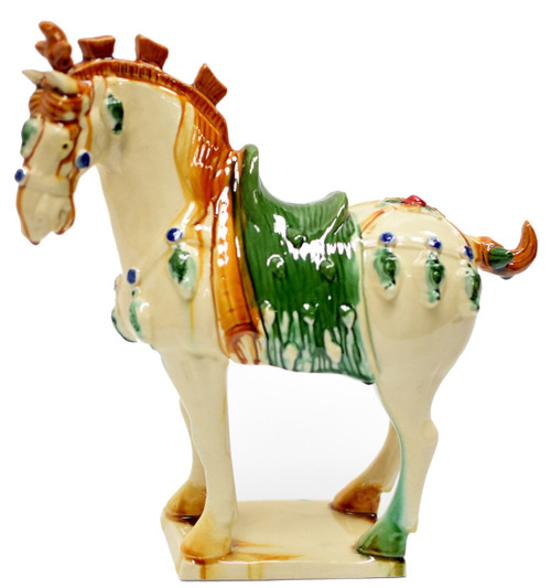 cream pottery horse 2, san cai terracotta