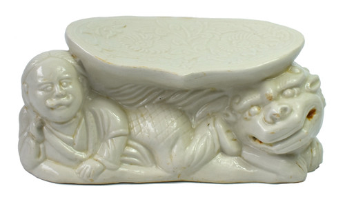 Ding Ware Porcelain Pillow Man and Foo Dog