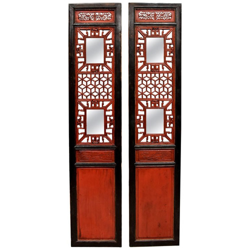 Pair Red and Black Lacquer Chinese Antique Screens