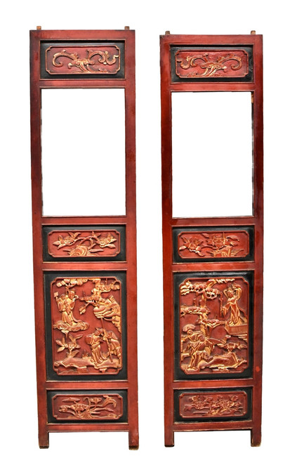 pair carved antique screens, red gold