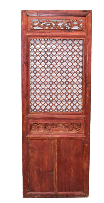carved antique screen panel, bird and peony