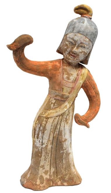 pottery figure dancer, in military helmet, han style