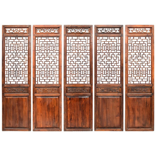 Set of 5 Carved Antique Chinese Screens