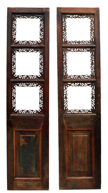 pair chinese antique screens, finely carved, gourds and butterflies