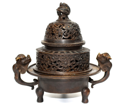 Antique Bronze Incense Burner with Dragons