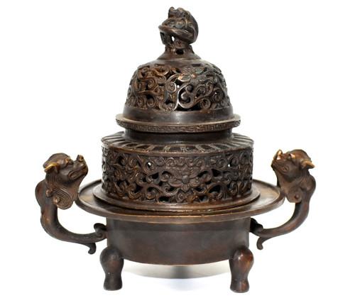 antique copper bronze incense burner with dragons
