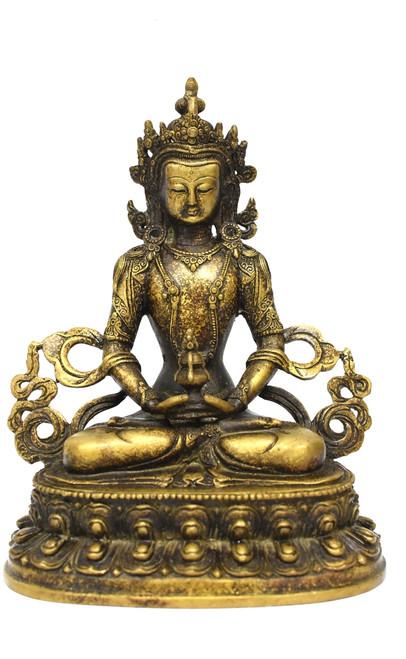 Tibetan Amitayus Buddha for Immortality, Mottled Gold Finish