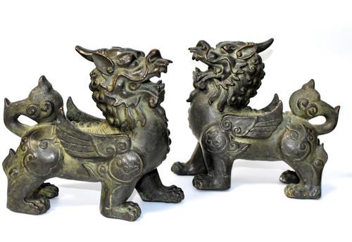 pair bronze pixiu lions