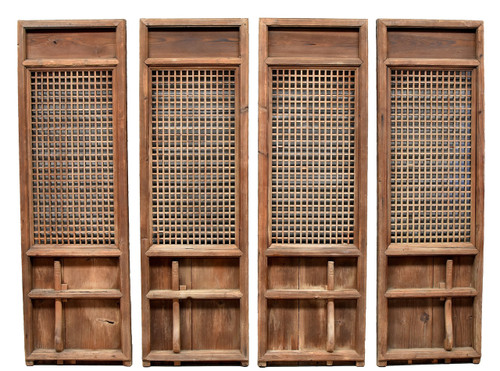 chinese antique screens set of 4, with flower pegs