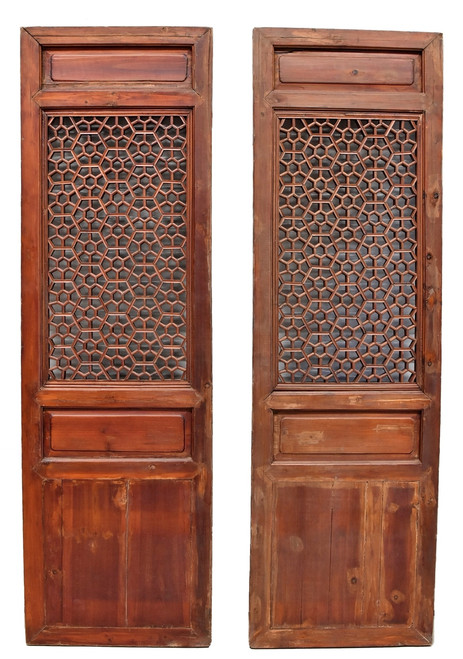 pair chinese antique screens, octagon flower