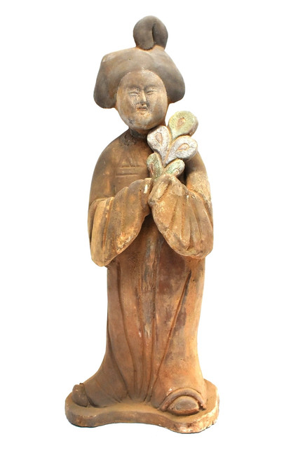 terracotta court lady with peacock feather