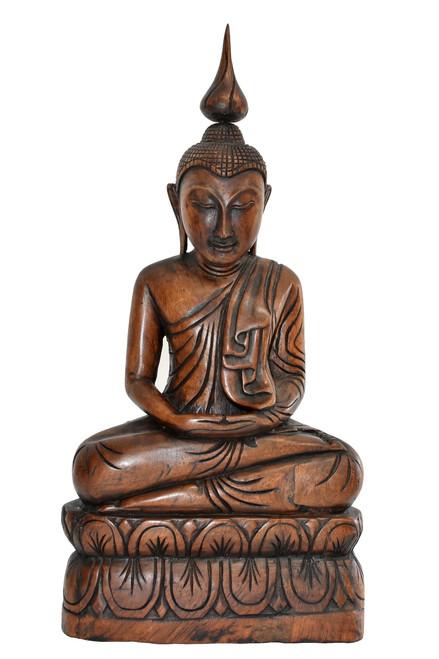 wooden burmese buddha, hand carved