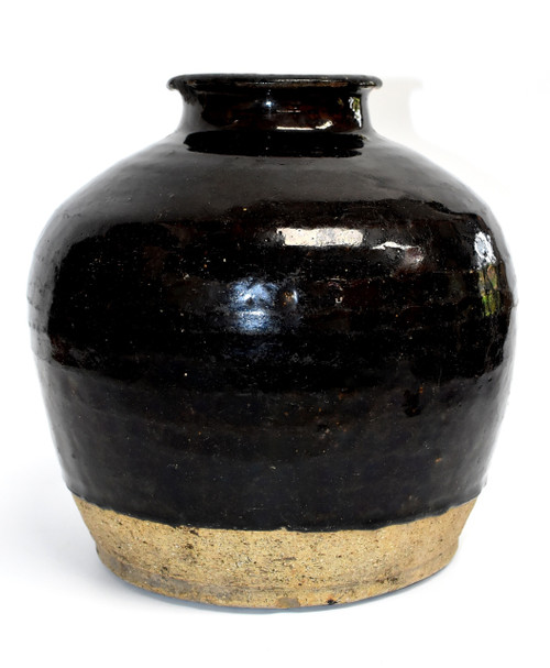 Large Antique Black Vinegar Jar with Rings